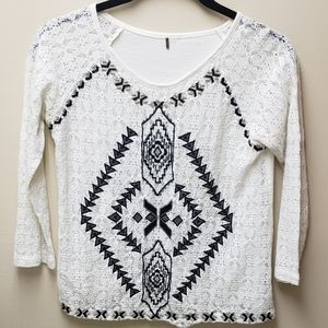 Free People Sheer Embroidered Top SZ S? TLC